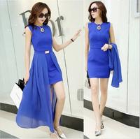 High Quality Silky Chiffon Summer Dress 2014 New Fashion Slim Two Piece Women Street Sleeveless Long Dress Plus Size XXL