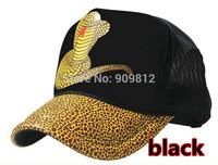 50pcs/lot Free Shipping Snake patterns truck cap Cartoon mesh hat Snapbacks caps, hat circumference 55--60cm black