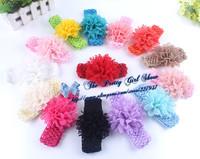 "4"" Lace Peony Flower On a Elastic Crochet Headband Baby Girls Flower Headband Infant Baby Accessories 30PCS/LOT"