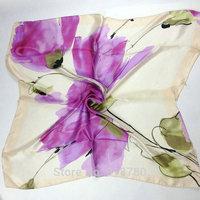 Free Shipping! 100% pure silk  Scarf , 90cm*90cm square scarves,light purple print scarves