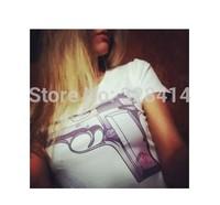 2014 New Arrive Gun Print T Shirt for Women, Comfortable Wear Short Sleeve Gun Printed Top Tee S M L
