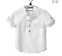 2014 New Summer Boys white cotton blouse kids shirt