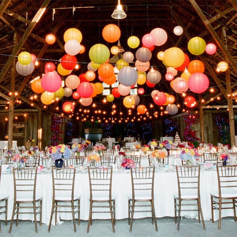 "10pcs 10"" 12'' Round Multicolor Chinese Paper Lanterns Lamp Festival&Wedding Decoration wedding LED lanterns Party Hang Decor(China (Mainland))"