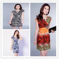 New Arrival 2014 Fashion Sexy Ice Silk Leopard Flower Print Casual Dresses Women Summer Winter Beach Plus Size S-XXL Vestidos