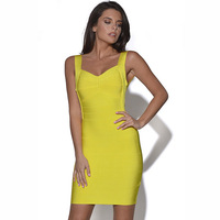 2014 New Arrival Tops Fashion Summer Autumn Sexy Bandage Slim Short Evening Party Banquert Blue Yellow Dress Free Shipping
