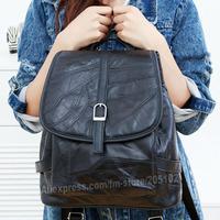 2014 new BackPacks sheep skin genuine leather Black bags for women lady school bag totes satchel goatskin Chest Bags
