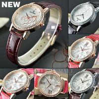 2014 New Women's Leather Strap Quartz rhinestone wristwatches relogios lady luxury brand top Ladies Dress Fashion Casual Watches