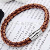 """Adjustable Braided Leather Wristband Bracelet Band 0.3"""" CHIC"""