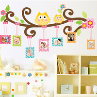 Free Shipping owl picture frame photo wall stickers children's room bedroom bedside wall-stickers green