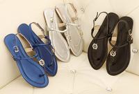 Brand New 2014 Top Designer Women Sandal Black Size 35 to 39 Gladiator Sandals Fashion Hot Thong Flat Flip Flops Summer Shoes