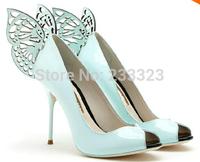 Fashion Sophia Webster Mariposa Leather Butterfly Decoration Genuine Leather female High-heeled Ladies Peep Toe Pumps Dress Shoe