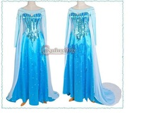 DHL Free Shipping Custom-made Movie Cosplay Costume Princess Elsa Dress from Frozen for Children