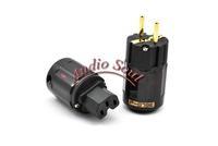 Hi End power plugs Oyaide P-079E+C079 24k Gold-Plated Pure Copper Poles EU Power Plug ac power cord plugs
