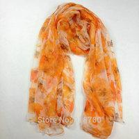100% pure silk  Scarf , Free Shipping! 105cm*185cm   orange  scarves