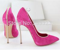 2014 HOT Kim Kardashian Metal Blade high heel leather suede pointed-toe blade heel pumps famous brand shoes