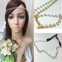 2014 blingbling women's fashion Elastic rhinestone Headband crystal hair jewelry party wedding