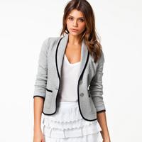 Womans Coat Spring Autumn Turn-Down Collar Slim Short Design Blazer lapel thin short paragraph Female Gray Large Size Small Suit