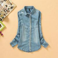 2014 new lace long-sleeved shirt Slim washed denim jacket blouse large size