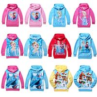 100% Cotton Frozen Princess Elsa Anna Olaf Children Hoodies Sweatshirts Outerwear, Moleton Infantil Feminino, Kids Casaco Roupa.