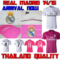 Real Madrid Jersey 14 15 Home Thailand Quality Away Pink Football Shirt Training Uniform 2015 RONAIDO ISCO Soccer Jersey