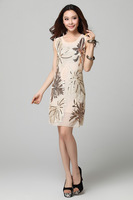 2014 European standing  Women Embroidery sequin e o-neck sleeveless slim dress