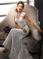 2014 New Mermaid White Or Ivory Trumpet with Belt Lace Keyhole Wedding Dress