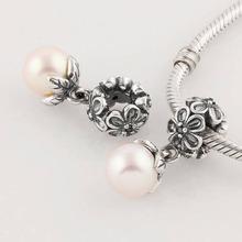 Authentic 925 Sterling Silver, Black CZ & Pearl Flora Pendant Charms Fits European Pandora Charm Bracelets & Bangles