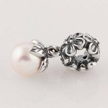 Authentic 925 Sterling Silver Black CZ Pearl Flora Pendant Charms Fits European Pandora Charm Bracelets Bangles