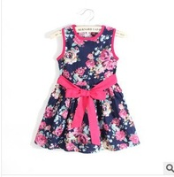 2014 New Summer Kids Girls Dress Cute Floral Print Princess Dress Korean Fashion Tute Bow Cotton Dresses Children Clothing L20-3