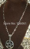 2014 Fashion 10PCS Vintage Silver Wiccan Pagan Pentacle Pentagram  Charms Sweater Chain Necklace&Pendants DIY Men Jewelry P2328