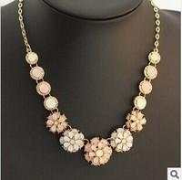 High-quality Acrylic Sweet Candy Flower Choker Necklace statement bib 2014 summer new women gold