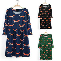 New Fox Printed Women's Dress Long Sleeve Winter Mini Dress O Neck Animal Printed Cotton Casual Dress Free Shipping