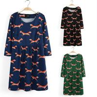New Fox Printed Women's Dress Long Sleeve Winter Mini Dress O Neck Animal Printed Cotton Casual Dress Free Shipping
