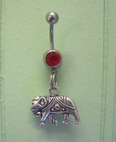 Free Shipping 10pcs/lot  BJ00652 alloy cute elephant Charm navel button ring girl piercing tatoo body jewelry
