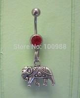 Free Shipping 10pcs/lot  BJ00652 alloy cute elephant Charm navel button ring girl piercing tatoo body jewelry