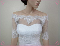 Wholesale - 2014 Cheap Off Shoulder Dot Lace Bolero Jacket Bridal Bolero Wedding Jacket Wedding Bolero With Alencon Lace Trim