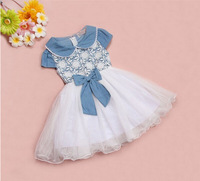Free shipping new brief elegant kids cowboy chiffon lace girl party dress children princess dresses
