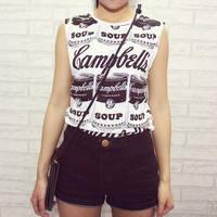 East Knitting New 2014 OT-014 Vintage school loose t-shirt Women soup graffiti coke cola Print Vests Crop Tops free shipping