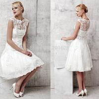 Short Custom made knee length  A-line Tank  Lace  Vestido  Wedding dress