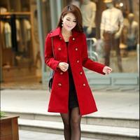 2014 Hot Graceful Women Winter Long Woollen Thick Plus Size Outerwear Trench Coats / Fashion Abrigo Casacos Femininos