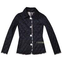 High quality  women's new fashion autumn winter plaid wadded jacket dark blue black slim patchwork outerwear coat,Free Shipping