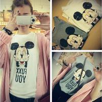2014 new  Mouse FUXX YOU print t-shirt women cartoon women clothing girl summer t shirt Tops Free shipping