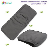 Babyland charcoal bamboo inserts with gussets ( 30 pcs/lot) great CBI charcoal bamboo inserts