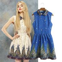 2014 summer fashion young girl turn-down collar royal one-piece dress tank dress