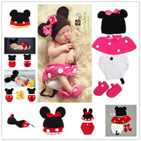 Mickey Designs Baby Crochet Photography Props Infant Costume Photo Props Outfits Newborn Crochet Beanies&pants 1 set  MZS-14015