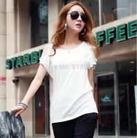 S-XXL hot sale 2014 summer women's short sleeve off shoulder beading casual t-shirt,slim fashion sexy high street t shirt tops