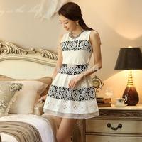 Brand New Fashion Women Organza Lace Hollow Out Sleeveless one-piece Dress Female Elegant slim basic Tank Dresses