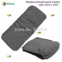 Free Shipping Gray Bamboo Charcoal Inserts 25 pcs + bamboo cotton inserts 25 pcs