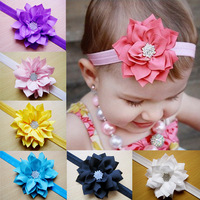 10pcs/lot mix colors chiffon flower with crystal baby  soft headband children accessories