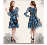 New 2014 Spring&Summer Cute Women Slim V-Neck Flower Print Long Sleeve Chiffon Dress Vestidos, M, L, XL, XXL, XXXL